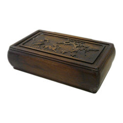 Golden Lotus - Hcs696-14 Chinese Huali Rosewood Handcrafted Storage Box - This is a decorative box made of Huali rosewood and crafted into rectangular shape with pull out lid.