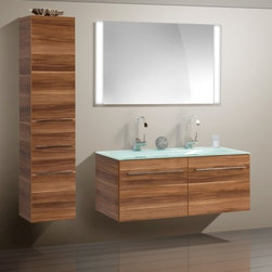 Double sink Modern Bathroom Cabinet  with different color finish - Double glass sinks bathroom vanity cabinet in material of Melamine faced chipboard .