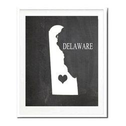 Kshoo Design - Delaware State Print, Frame Not Included, 11x14 - -Faux chalkboard background