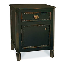 Swedish Nightstand - Swedish Nightstand features inlaid beaded detailing, exquisite hardware, one drawer and one cabinet. This night table offers lots of quiet beauty and would be a great addition to any bedroom. Your choice of either Left or Right hinge. Shown in  Black with standard brass hardware.