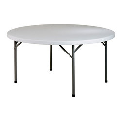 Office Star - Round Resin Multi-Purpose Folding Table - 60 - Need extra tables at your next event?  This 60 in round Multi-Purpose table features a resin construction with durability to ensure prolonged use for all of your upcoming festivities.  Its sleek metal frame folds easily for your convenience. * Resin construction. Metal Frame. 60  in. Dia x 29.25 in. H. 60  in. Dia x 29.25 in. H