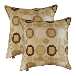 Sherry Kline - Sherry Kline Metro Taupe 20-inch Decorative Throw Pillows (Set of 2) - Accessorize your sofa or bedroom with these luxurious pillows. Featuring a contrast spotted pattern and a three-side flange edge,these decorative pillows have a suede backing and fine polyester fill.