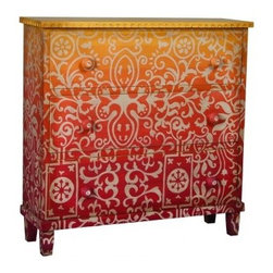 MARRAKESH COTTAGE CHEST - Graduated shades of Cherry Red to Banana Yellow with hand-painted Moroccan art on solid wood three drawer chest. Hand-carved wood knobs with shell buttons.