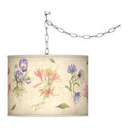 "Giclee Gallery - Country - Cottage Swag Style Floral Fancy Giclee Shade Plug-In Chandelier - Add instant style and glamour with this swag chandelier. Plug the light into any standard wall outlet then hang the cord on included the swag hooks. Drape the cord as desired. The lamp features a brushed silver finish spider fitting and a silver cord. In-line on-off switch controls the lights. Includes swag hooks and mounting hardware. U.S. Patent # 7347593. Custom Giclee shade. Brushed silver finish. Takes one 100 watt bulb (not included). Shade is 10"" high 13 1/2"" wide. 15 feet of lead wire. 10 feet of chain.       Custom Giclee shade.  Brushed silver finish.  Takes one 100 watt bulb (not included).  Shade is 10"" high 13 1/2"" wide.  15 feet of lead wire.  10 feet of chain."