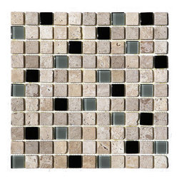 "Travertine And Glass 1"" X 1"" Mosaic Blend - Cafe Noce 1x1 Glass and dark Stone Blend tiles are a beautiful blend of beiges, chocolates and creams. Best uses include wall applications in both residential and commercial properties for kitchens, baths, and any accent walls.  Also known as tucany beige, tuscany classic"
