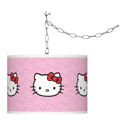 "Hello Kitty - Kids Hello Kitty Classic 13 1/2"" Wide Silver Plug-In Swag Pendant - Add a bold cheerful accent to your home décor with this Hello Kitty Classic swag plug-in pendant light. Officially licensed from Sanrio the contemporary design brings the iconic Hello Kitty to life on a Giclee Glow drum shade custom-printed on high-quality translucent fabric. Comes with a brushed silver finish spider fitting chain and silver cord. Simply hang the cord on the included hooks drape as desired then plug in to any outlet. U.S. Patent # 7347593. Officially licensed design from Sanrio. Brushed silver swag plug-in chandelier. Hello Kitty Classic pattern Giclee Glow shade. Translucent fabric lets light shine through. Maximum 100 watt bulb (not included). In-line on/off switch. Includes swag hooks and mounting hardware. Shade is 13 1/2"" wide 10"" high. Includes 15' wire 10 feet chain. May only ship to the United States its territories possessions and the Commonwealth of Puerto Rico. ©1976 2013 Sanrio Co. Ltd. Used Under License.  Officially licensed design from Sanrio.   Brushed silver swag plug-in chandelier.   Hello Kitty Classic pattern Giclee Glow shade.   Translucent fabric lets light shine through.   Maximum 100 watt bulb (not included).   In-line on/off switch.   Includes swag hooks and mounting hardware.   Shade is 13 1/2"" wide 10"" high.   Includes 15' wire 10 feet chain.   May only ship to the United States its territories possessions and the Commonwealth of Puerto Rico.   ©1976 2013 Sanrio Co. Ltd. Used under license."