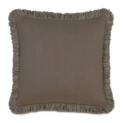 Frontgate - Breeze Decorative Pillow with Fringe - Woven of 100% linen. Enhanced with beautiful piecing and trimmings. Dry clean only. Since each piece is made to order, please allow 4-6 weeks for delivery. Made in the USA. The light comfort and mitered look of Breeze adds a modern touch to your decor. The 100% linen bedding is offered in three neutral yet up-to-date colorways that blend seamlessly with your individual style. . . . . .