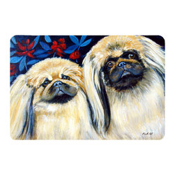 Caroline's Treasures - What A Pair Of Pekingese Kitchen Or Bath Mat 20X30 - Kitchen or Bath COMFORT FLOOR MAT This mat is 20 inch by 30 inch.  Comfort Mat / Carpet / Rug that is Made and Printed in the USA. A foam cushion is attached to the bottom of the mat for comfort when standing. The mat has been permenantly dyed for moderate traffic. Durable and fade resistant. The back of the mat is rubber backed to keep the mat from slipping on a smooth floor. Use pressure and water from garden hose or power washer to clean the mat.  Vacuuming only with the hard wood floor setting, as to not pull up the knap of the felt.   Avoid soap or cleaner that produces suds when cleaning.  It will be difficult to get the suds out of the mat.