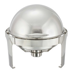Winco - Winco 6-Quart Madison Stainless Steel Round Roll Top Chafing Dish - Entertain in style with this elegant and modern 6-quart round chafing dish from the Madison Collection by Winco. Defined by beautiful, smooth clean lines, this chafing dish is perfect for chic events that require serving food in a buffet setting.
