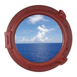 """Handcrafted Model Ships - Dark Red Porthole Window 20"""" - Beach Bedroom Decoration - This Dark Red Porthole Window 20"""" adds sophistication, style, and charm for those looking to enhance rooms with a nautical theme. This boat porthole has a sturdy, heavy and authentic appearance, yet it is made of wood and fiberglass to lower the weight for use as nautical wall decor. This porthole window makes a fabulous style statement in any room with its classic round frame, eight solid rivets and two dog ears surround the perimeter of the porthole frame."""