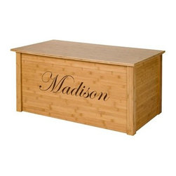 Wood Creations Bamboo Toy Chest with Personalization - Instill an early appreciation for our environment AND for organization with this cute Wood Creations Bamboo Toy Chest with Personalization. Best of all your little one will love seeing his or her name engraved on the box which might just lead to more responsible cleaning up after playtime. You can choose which whimsical font you'd like and just type in what you'd like us to engrave on the box. Constructed of bamboo wood which quickly renews itself making it eco-friendly this toy box is plenty sturdy. The panels are .75-inch thick unlike flimsy toy boxes sold elsewhere. Two safety lid supports means no pinched fingers or slamming and the whole thing is finished in a light child-safe finish and clear coat. Playtime just got a whole lot neater - and wiser with bamboo!About Wood Creations Inc. Wood Creations Inc. produces handcrafted toyboxes and blanket chests in Bismarck North Dakota. Their toyboxes and blanket chests are heirloom quality and built to last a lifetime.