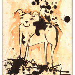 """Moooooooo"" (Original) By Elliott C  Nathan - Spattered India Ink And Coffee Make Up This Fun Cow Painting. This Large Piece Will Ship To You Rolled In A Tube And Does Not Come With A Frame, But This Should Help You Visualize The Piece In Your Home."