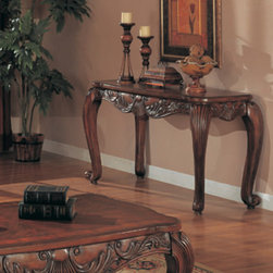 Wildon Home � - Atherton Console Table - Features: -Wood veneers and solids.-Traditional style.-Smooth rounded edges, carved details, scrolled legs.-Smooth matched veneer top with curved corners.-Deep brown medium wood finish.-Atherton collection.-Collection: Atherton.-Distressed: No.Dimensions: -Overall Product Weight: 46.86 lbs.