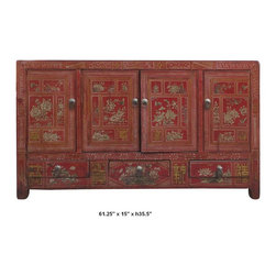 Chinese Red Lacquer Butterfly & Flower Four Season Buffet Table / Cabinet - You are looking at a classic Chinese red lacquer four season motif buffet table. It is hand made and hand painted with birds, butterflies & flowers on the front.