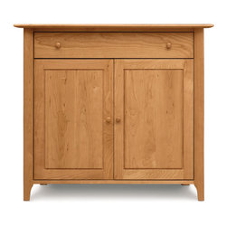 Copeland - Sarah Small Buffet - Sarah Small Buffet  by Copeland FurnitureCombining the warmth of solid Cherry with the beautiful forms of Shaker furniture design, this Sarah 2-door, 1 drawer buffet is simple and clean, with scooped legs and an overhanging top surface.    This small buffet consists of a two door cabinet and top silverware drawer. Matching Cherry handles finish the cabinet nicely, and door panels are detailed to add dimension to the front. Self-closing door hinges and an open interior with adjustable shelving make the buffet a pleasure to use.    The drawer features asymmetrical English dovetail joinery and a fully finished and sanded interior with under-mounted, soft-close drawer slides. The silverware drawer keeps your utensils sorted and protected with Guardian Anti-Tarnish lining and cloth.The Sarah small buffet is made from solid Cherry hardwood with Natural, Autumn, Cognac, Saddle, Smoke, or Windsor finish. Hand-crafted with impeccable quality and attention to detail, this buffet