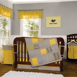 Trend Lab - Trend Lab 3 Piece Hello Sunshine Crib Bedding Set - 110030 - Shop for Bedding Sets from Hayneedle.com! Add cheer to your baby s crib with the Trend Lab 3 Piece Hello Sunshine Crib Bedding Set. This vibrant crib set features modern patterns in a yellow black grey and white color scheme. The set includes a cozy reversible quilt soft cotton crib sheets with 8-inch deep pockets and a box pleat crib skirt with a 15-inch drop. The reversible quilt features a variety of patterns such as faux wood grain chevron dots and stripes all in the yellow black grey and white color scheme. This crib bedding set blends quality and function and will comfort your little one with style.About Trend LabFormed in 2001 in Minnesota Trend Lab is a privately held company proudly owned by women. Rapid growth in the past five years has put Trend Lab products on the shelves of major retailers and the company continues to develop thoroughly tested high-quality baby and children's bedding decor and other items. Trend Lab continues to inspire and provide its customers with stylish products for little ones. From bedding to cribs and everything in between Trend Lab is the right choice for your children.