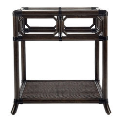 """Selamat - Selamat Regeant Side Table with Glass-Clove - English garden trellis work and windows are echoed in the decor and elegant style of the Regeant Collection. Leather wrapped rattan pole with 1/4"""" thick inset tempered glass top."""