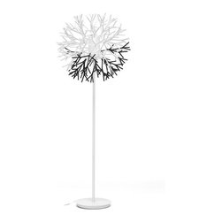 Baxton Studio - Baxton Studio Twigg White and Black Modern Floor Lamp - Illuminate your space with a bona fide conversation piece! Our Twigg Floor Lamp is a showstopper with its white metal base and a combination of black and white branch-shaped pieces made of pliable acrylic that you can arrange however you would like during the assembly process.  A coated glass cylinder encloses the bulb.  Power is supplied from the colorless power cord with foot-operated on/off switch, standard American 2-prong polarized plug, and UL listed socket.  We ask you supply your own 60W maximum bulb (not included with purchase).  To clean, wipe with a dry cloth.  This designer floor lamp is made in China, requires assembly, and is also offered as a table lamp (sold separately).Product Dimension: 25 inches wide x 25 inches deep x 62.75 inches highCord length: 85 inchesBase: 11.75 inch diameter