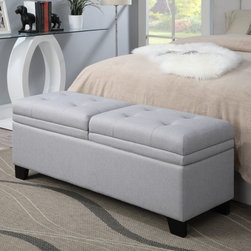 Home Meridian - Home Meridian Upholstered Storage Bed Bench - Trespass Marmor - DS-2281-683 - Shop for Benches from Hayneedle.com! The Home Meridian Upholstered Storage Bed Bench - Trespass Marmor affords your bedroom a functional piece of accent furniture. This alluring bed bench is supported by a solid hardwood frame with tapered wood legs. The top is outfitted with two tufted cushions each padded with thick soft foam. A 100% polyester linen-like fabric (in a white marmor color) upholsters the bench. Each cushion lifts to reveal a separated storage area great for keeping a change of sheets extra blankets and more. The gas-lift hinges are whisper-quiet and make accessing the storage areas effortless.About Home Meridian Home Meridian has poised themselves on the forefront of the home furnishing market. Not content to wait for trends to take hold Home Meridian quickly adapts their designs and creates products based on newly emergent ideas in the field. Each of their products is designed to meet their customers' needs from style stability and affordability without compromising quality. With bi-costal North American offices and three international offices you can rest assured their global connectivity is a force to be reckoned with. Partnering with 30 factories worldwide Home Meridian is committed to constructing their pieces with the finest materials available.