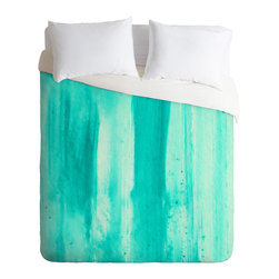 DENY Designs - Madart Inc Modern Dance Aqua Passion Duvet Cover - Turn your basic, boring down comforter into the super stylish focal point of your bedroom. Our Luxe Duvet is made from a heavy-weight luxurious woven polyester with a 50% cotton/50% polyester cream bottom. It also includes a hidden zipper with interior corner ties to secure your comforter. It''_s comfy, fade-resistant, and custom printed for each and every customer.