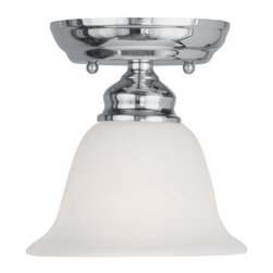 Livex Lighting - Livex Lighting 1350 Essex Semi-Flush Ceiling Fixture with 1 Light - Livex Lighting 1350 Essex One Light Semi-Flush Ceiling FixtureSimple yet elegant, the Essex single light ceiling fixture features a lone bell shaped down light perfect for any d�cor.Livex Lighting 1350 Features:
