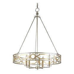 Currey and Company - Fairchild Chandelier, 5 Light - Part of The Lillian August Collection, the Fairchild is bright and stunning. This Gatsbyesque chandelier harkens back to the early modern era with shimmering Contemporary Gold Leaf and Contemporary Silver Leaf finishes.
