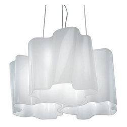 Artemide - Logico Mini Triple Nested Suspension by Artemide - In addition to adding a distinctive textural element to contemporary decor, the Artemide Logico Mini Triple Nested Suspension creates a dramatic wash of light around a space. It features three hand-blown glass shades, their numerous folds fitting together in a tightly nested configuration. Designed by Michele De Lucchi and Gerard Reichert. Since 1959, Artemide has created a wide array of modern table lamps, floor lamps, wall sconces and suspensions. Technologically advanced, and with styles ranging from clean and refined to sculptural and avant garde, many Artemide designs--especially the Tolomeo and Tizio--have become icons of contemporary lighting design.