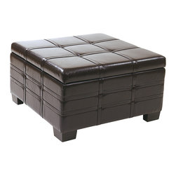 Office Star - Office Star Avenue Six Detour Strap Ottoman with Tray in Espresso Eco Leather - Detour strap ottoman with tray in espresso eco leather