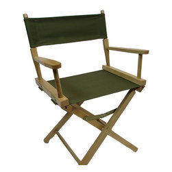 """Gold Medal Brand - Gold Medal 18"""" Table Height Contemporary Directors Chair, Olive Green Canvas, 18 - """"The Original Director's Chair"""" award winning design since 1892. One of our most popular director's chairs, The Contemporary Directors Chair in natural finish offers value and quality at a great price. This chair is made in the USA from locally managed Appalachian beech hardwoods. All joints are hand fitted and glued with steel underpinning to insure tight and long lasting rigidity. Strong joints are the most important factor in long lived director's chairs. Seat and Back fabric is heavy duty 14 oz. cotton canvas which is washable and colorfast. Seat height is 18"""" or normal dining height."""