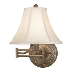 Kenroy Home - Kenroy Home 21395NUT Nutmeg Amherst Traditional / Classic Single Light - Traditional / Classic Swing Arm Wall Sconce From the Amherst CollectionKenroy HomeÂ's swing-arm lamps are available in a variety of styles, ranging from traditional to ultra-modern, and many come in coordinated collections, making it easy to match the lamp with an existing chandelier, torchiere, or table lamp.  Like many of our sconces, Kenroy HomeÂ's swing-arm lamps donÂ't necessarily require costly in-wall installation. Most can simply be mounted to the wall with two small screws and plugged into an electrical outlet. For those worried about the look of dangling cords, all of KenroyÂ's swing-arm designs include cord covers: long, thin strips that match the finish of the lamp and provide a clean-looking transition from lamp to outlet. For maximum camouflage, the lamps can be hard-wired to a junction box, allowing them to operate from a wall switch. The town of Amherst, home to scholars and poets, inspires this trio of decorative wall lamps.  Small details in the backplate and a sturdy double armed extension add elegance and style.  Available in 3 finishes, the Oil Rubbed Bronze finish has a matching family of lamps.Cord Cover IncludedRequires (1) 100 Watt 3-Way Bulb Not Included16 Inch Height, 12 Inch Width, 22 Inch Extension12 Inch Diameter Bell Shade