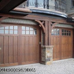 Custom Craftsman Style Garage Doors in Mahogany -