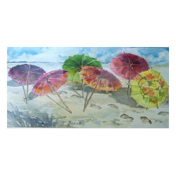 Beach Party, Original, Painting - Taking the party to the beach, I superimposed cocktail umbrellas onto a classic seashore landscape.