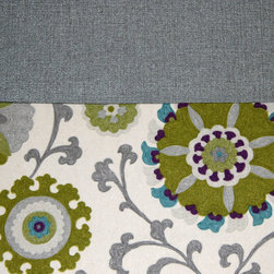 Grey House Linens - The Elise Collection Tablecloth, Extra Large - A gorgeous cotton suzani print in pear, aqua, silver, purple and linen offset an iridescent textured platinum solid. This is a transitional look for a holiday gathering or everyday use.