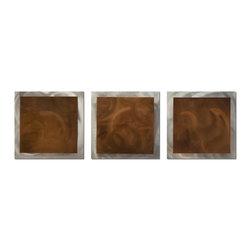 "Metal Art Studio - Brown Essence Modern Metal Abstract Wall Art - Size: 38""X12"""