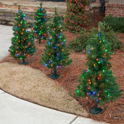Walkway Trees - Walkway trees create an inviting appearance to your outdoor Christmas decorations. Available in LED and Incandescent, walkway trees are sure to bring your yard attention. Photo credits: Christmas Lights, Etc