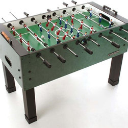 "Carrom - Agean Foosball Table in Emerald Finish - Include corner ramps for single goalie assembly. Cabinet is 1 in. thick covered with Agean Green Melamine. Play surface is 0.375 in. thick with a 0.030 in. thick laminate top. Rods are solid 0.625 in. diameter triple chrome-plated steel. Graphics are screen printed using enamel for wear resistance. Custom hand painted realistic players with ball control feet. One or three goalie play; decide when setting up game. Legs are heavy miter fold black vinyl with leg boots for easy and accurate leveling. Cushioned rubber handles allow for precise player control. Ball return is high impact plastic. For ages 13 and above. Made in USA. Assembly required. 55 in. L x 29 in. W (156 lbs.). Width with longest rod protruding: 50.3125 in.Ever wonder where the name ""foosball"" came from? We don't know either, but we bet if you buy the game the name won't matter."