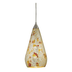 Elk Lighting - Elk Lighting Curvalo Modern / Contemporary Mini Pendant Light X-CRC-MVLS1-645 - The remarkable crackled appearance of this mini pendant light by Elk Lighting will make a beautiful addition to any room. The shades come in three different colors - ruby, Silver and Multi Silver. The tear drop shaped glass will provide ideal lighting for any kitchen island, counter top or bar.