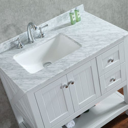 """New 36"""" Emily Bathroom Vanity Light Grey or White - New Emily 36"""" Bathroom Vanity - White or Light Grey -Solid Wood Construction - No Particle Board or MDF like many leading brands -Available in White or light Grey -Chrome Hardware -CUPC rectangle basin - Solid Wood soft closing drawers with concealed hinges - Carrara marble top -Mirror Included"""