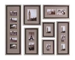 Uttermost - Massena Photo Frame Collage, Set of 7 - Outfit your wall with your favorite memories, pleasingly hung in this collection of picture frames of varying sizes. Each fir frame is edged in a silver leaf finish, with an interior matte black liner and an oatmeal linen mat. Play with the positioning of the photographs until you find the perfect combination, creating a wall of mementos.