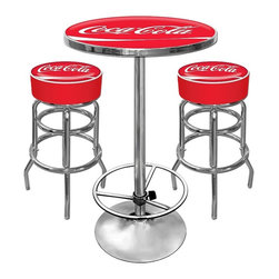 Trademark Global - Ultimate Coca-Cola Game room Bar Stool & Tabl - Includes 2 bar stools and pub table. Made in the USA. Stool features includes:. Chrome plated double rung base. Adjustable levelers. Commercial grade vinyl seat. Great for bar pub table and bars. Padded seat: 14.75 in. Dia. x 7.5 in. H. 30 in. H bar stool. Table features includes:. Waterproof printing because the printing is directly printed on the reverse side of the acrylic. Chrome base with foot adjustable height foot rest. Solid wood top under the acrylic. 28 in. Dia. scratch resistance acrylic top. Table height: 42 in.. Total weight: 100 lbs.This Officially Licensed Coca-Cola Game Room Set includes 1 Pub Table and 2 Barstools. The bar stools are very high quality stools with a comfortable padded seat that swivels 360°. The Pub table features an acrylic top with crystal clear reverse side printing. The 1 in. thick solid wood top and full Chrome base with foot rest makes this a heavy durable unit.Great for gifts and recreation decor.