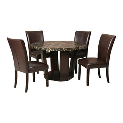 """Acme - 5-Piece Adolph II Collection Espresso Finish Wood Round Table Set - 5-Piece Adolph II collection espresso finish wood round black faux marble top dining table set with bycast vinyl upholstered chairs. This set includes the Dining table with black faux marble table and 4 - side chairs. Table measures 48"""" Dia. Chairs measure 39"""" H to the back. Some assembly required."""