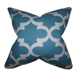"The Pillow Collection - Titian Geometric Pillow Regatta 18"" x 18"" - Spruce up your home with this contemporary pillow. This toss pillow features a geometric pattern in shades of blue and white. Use this 18"" pillow add a refreshing twist to your sofa, bed or couch. Made of 100% soft cotton pillow and manufactured in the USA. Hidden zipper closure for easy cover removal.  Knife edge finish on all four sides.  Reversible pillow with the same fabric on the back side.  Spot cleaning suggested."
