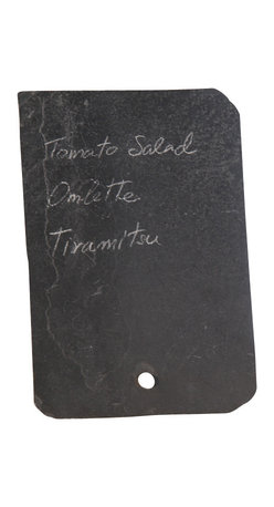 Vance Kitira - Slate Menu Board - Buffets, bistros and coffee shops. Store signage or a home message board. Includes Tamarind stick easel and soapstone chalk.