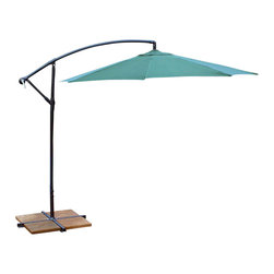 Oakland Living - 10 ft. Cantilever Umbrella in Green - Rochest - Made of Durable Metal and Poly Material Construction. Table and Chairs not included. Easy to follow assembly instructions and product care information. Stainless steel or brass assembly hardware. Fade, chip and crack resistant. 1 year limited. Lightweight and constructed of durable metal and poly material for years of beauty. Green Color for years of beauty. Green finish. Some assembly required. 120 in. W x 120 in. L x 120 in. H (46 lbs.)This umbrella set will be a beautiful addition to your patio, balcony or outdoor entertainment area. Our umbrella sets are perfect for any small space, or to accent a larger space.