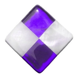 """Glace Yar - Amethyst and Pearls Cabinet Knob, Satin Nickel - We've added a bit of glam to our decorative hardware by adding the luminessence of real Mother-of-Pearl to our stained glass cabinet knobs.  Using 3/4"""" tiles of white, Mother-of-Pearl and Purple Amethyst clear cathedral stained glass creates a  luxurious combination of two, time-honored classics.  Clean with a soft cloth and window cleaner."""