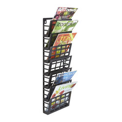 Safco - Safco Grid Magazine Rack 7 Pocket in Black - Safco - Magazine Racks - 4662BL - Stylish and ultra modern racks will keep your reading materials organized and easy for the next reader to find in your waiting area, reception room or employee break area. Use the 7 pocket rack to display business forms, corporate literature, industry magazines or other magazine and literature pieces. Heavy-duty steel for durability and come in a Black finish. Wall mounting hardware is included.