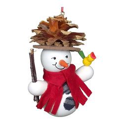 Alexander Taron - Christian Ulbricht Ornament - Snowman Wearing Pinecone Hat - 3.5H x 3W x 2D - Christian Ulbricht hanging ornament - Snowman wearing a pine hat - made in Germany.