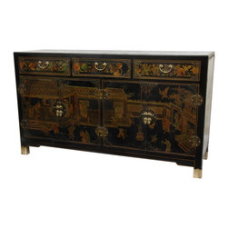 Oriental Furniture - Black Lacquer Large Buffet Table - This stunning, heirloom-quality buffet cabinet has been hand-painted with a classic Ming era courtyard scene on the doors, sides and top. The drawers and doors are reinforced with brass butterfly fittings that add both beauty and durability. The cabinet doors feature traditional round hinges and round medallion hasps, and the three drawers have matching fixed handles.