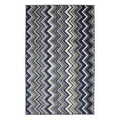 Mohawk Home - Mohawk New Wave Ziggidy Royal Transitional Chevron 5' x 8' Rug (11681) - Bold zigzags are like graphic art for your floor!  With different width stripes and bold colors this rug will shine as the spotlight of your decor.  Printed on the same machines that manufacture one of the world