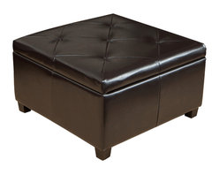 Great Deal Furniture - Elegant Brown Leather Storage Ottoman Coffee Table with Tufted Top - This tufted top brown leather storage ottoman coffee table has great functionality and beautiful presence. This ottoman offers rich leather exterior with a large storage space interior for all of your needs.